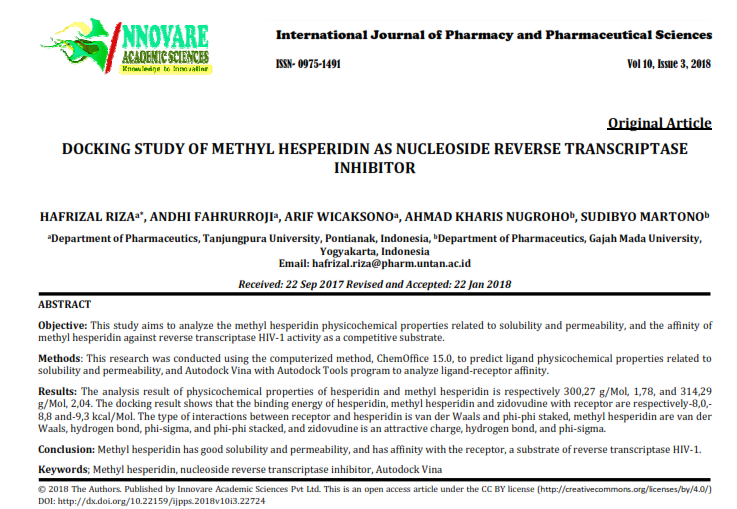 DOCKING STUDY OF METHYL HESPERIDIN AS NUCLEOSIDE REVERSE TRANSCRIPTASE